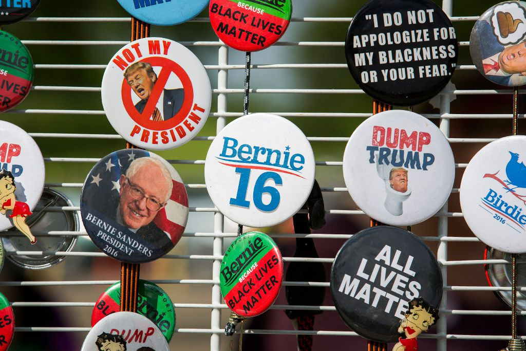 Vendors sold buttons outside Thursday's rally.