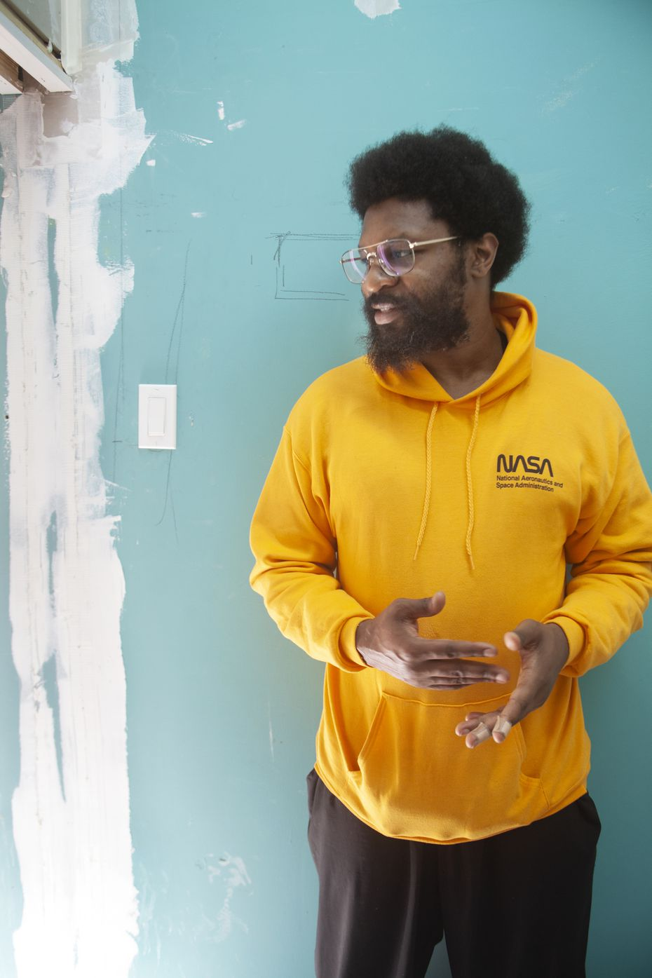 Artist Xxavier Edward Carter photographed on March 29, 2021 during construction of Cluley Projects in West Dallas, which will open on April 17, 2021. (Nan Coulter)