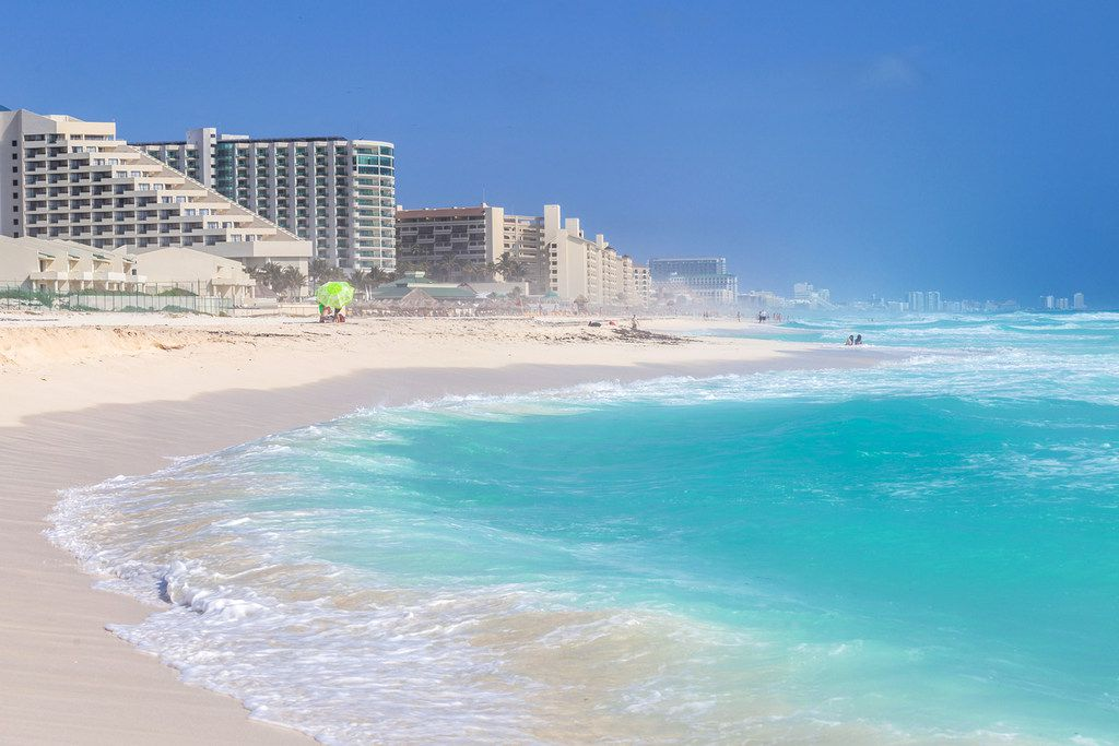 A beach along the Caribbean coast in Cancun, Mexico.