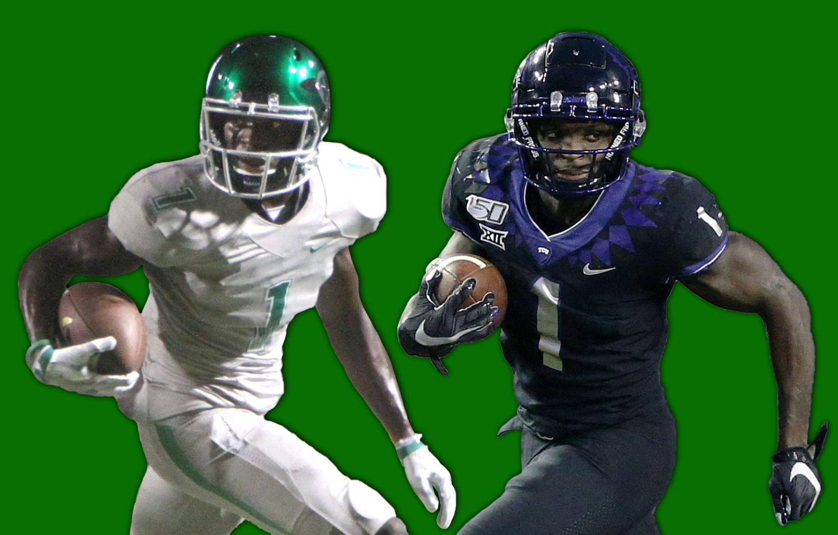 Jalen Reagor with Waxahachie in 2016 (left) and TCU in