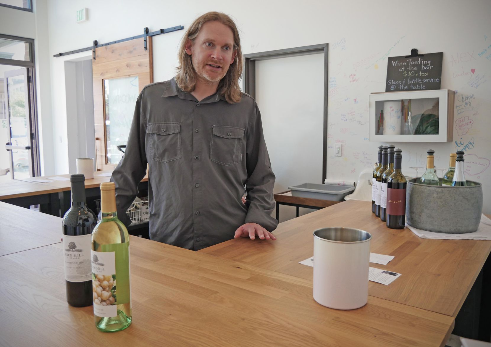 Winemaker Chris Hornbaker at the Eden Hill Winery at the Lofts, a new brick-and-mortar tasting room at the Dallas Farmers Market. Eden Hill Vineyard and Winery is located in Celina.