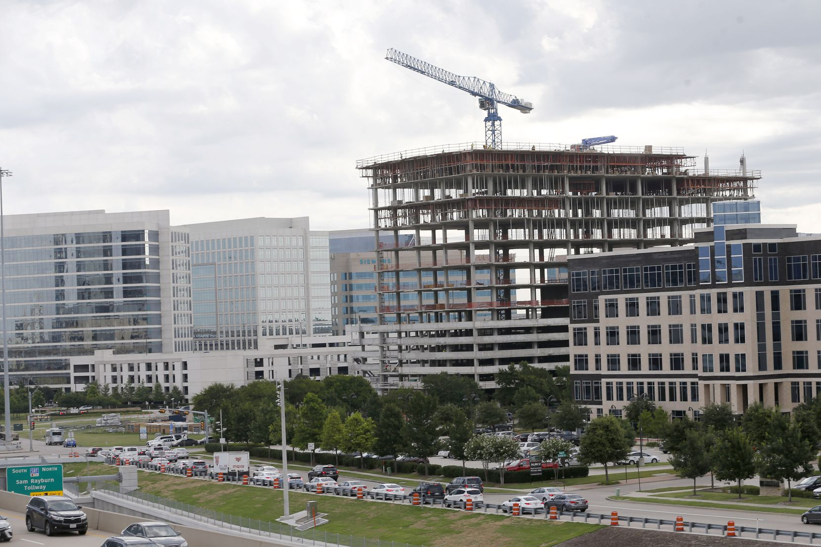 Construction continues at Headquarters 2 office building in Plano, one of the largest office projects in the Dallas area..