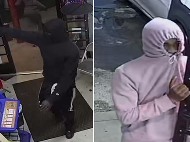 Images of two individuals suspected of a seven-robbery spree Monday in Fort Worth, from surveillance footage captured at one of the locations and posted on social media.