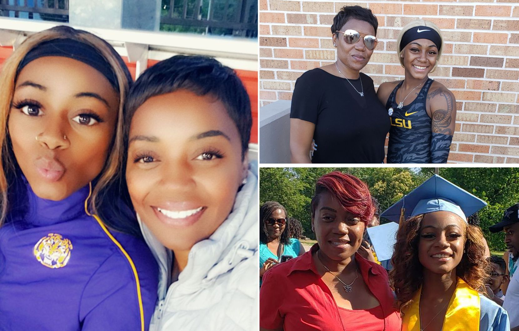 Photos of Sha'Carri and her aunt Shay.