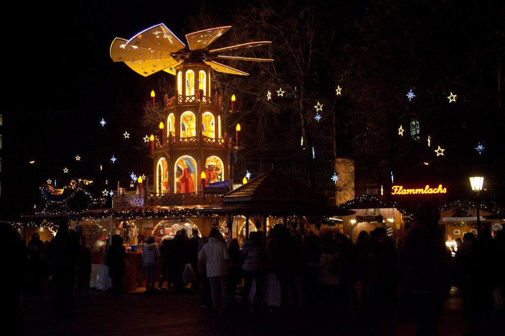 Christmas pyramids, like this one in Munich, are popular at German holiday markets.