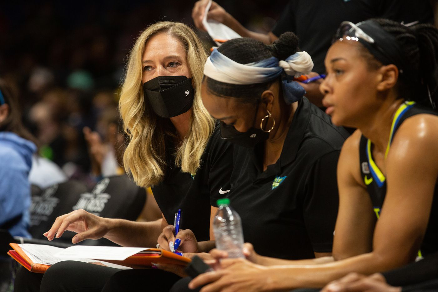 Dallas Wings assistant coach Kelly Raimon looks onto the court during their game against New York Liberty at College Park Center in Arlington, TX on September 11, 2021.  (Shelby Tauber/Special Contributor)