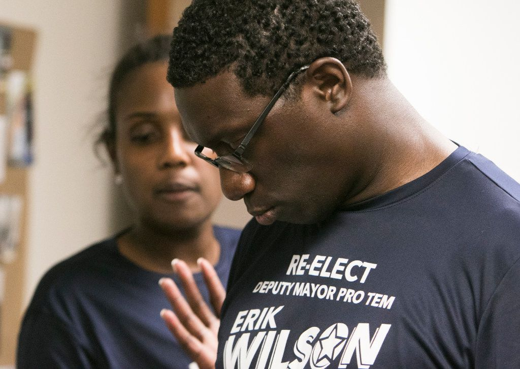People offer support to Erik Wilson at his election night watch party in Dallas, Saturday, June 10, 2017. Wilson ran against former Mayor Pro Tem Tennell Atkins  (Tailyr Irvine/The Dallas Morning News)