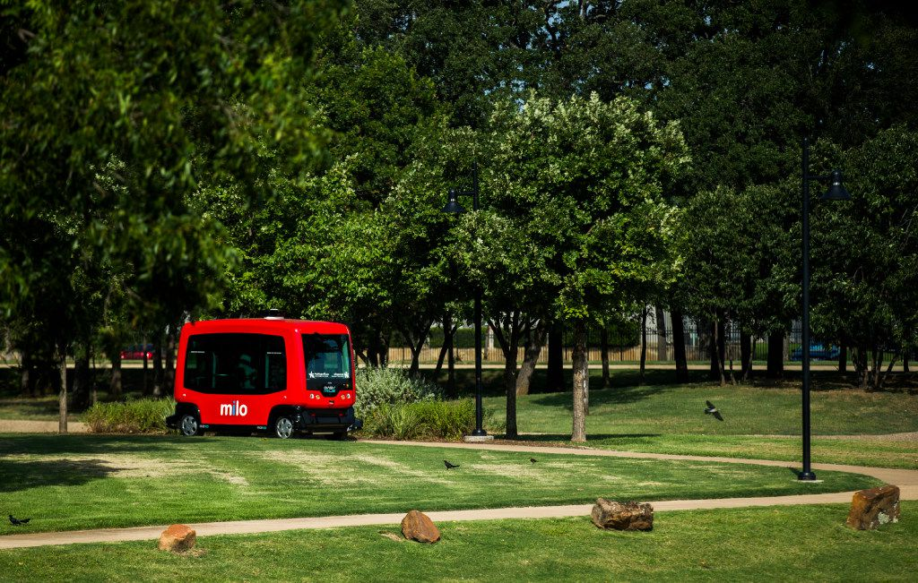Driverless vehicle Milo follows a predetermined path during a demonstration Friday at Globe Life Park in Arlington.