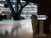 A digital kiosk shows the Rangers logo on the main concourse during an open house for the Texas Rangers' new Globe Life Field on Wednesday, March 11, 2020 in Arlington.