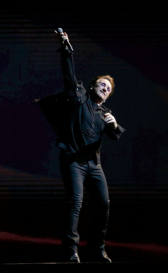 Bono of U2 performs on stage at AT&T Stadium in Arlington, Texas, Friday, May 26, 2017. (Jae S. Lee/The Dallas Morning News)