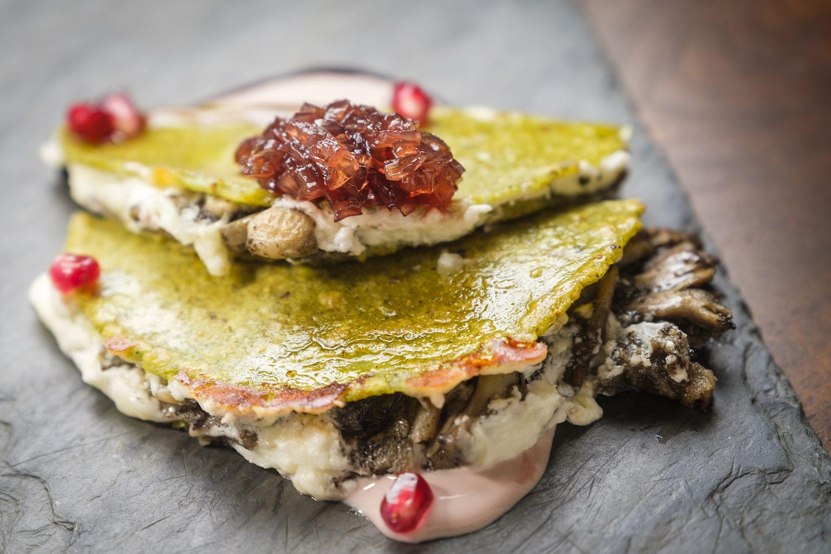 Fall mushroom quesadilla