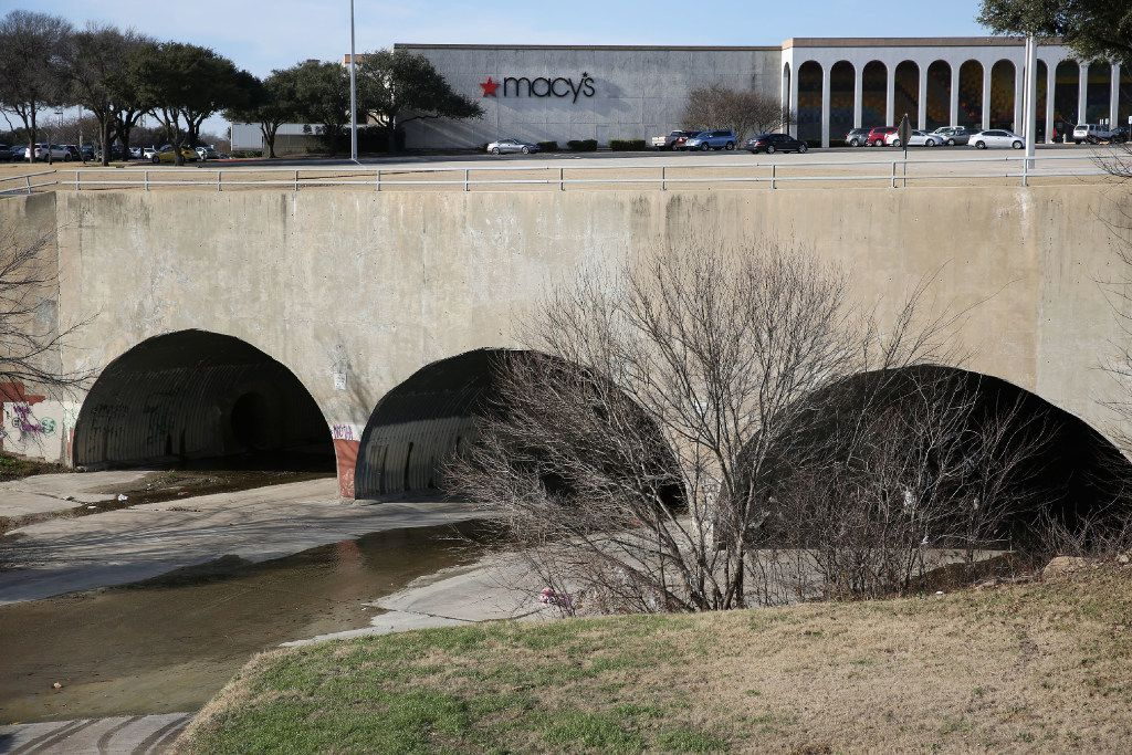 A view south of Macy's near where Spring Creek exits underneath Collin Creek Mall in Plano.