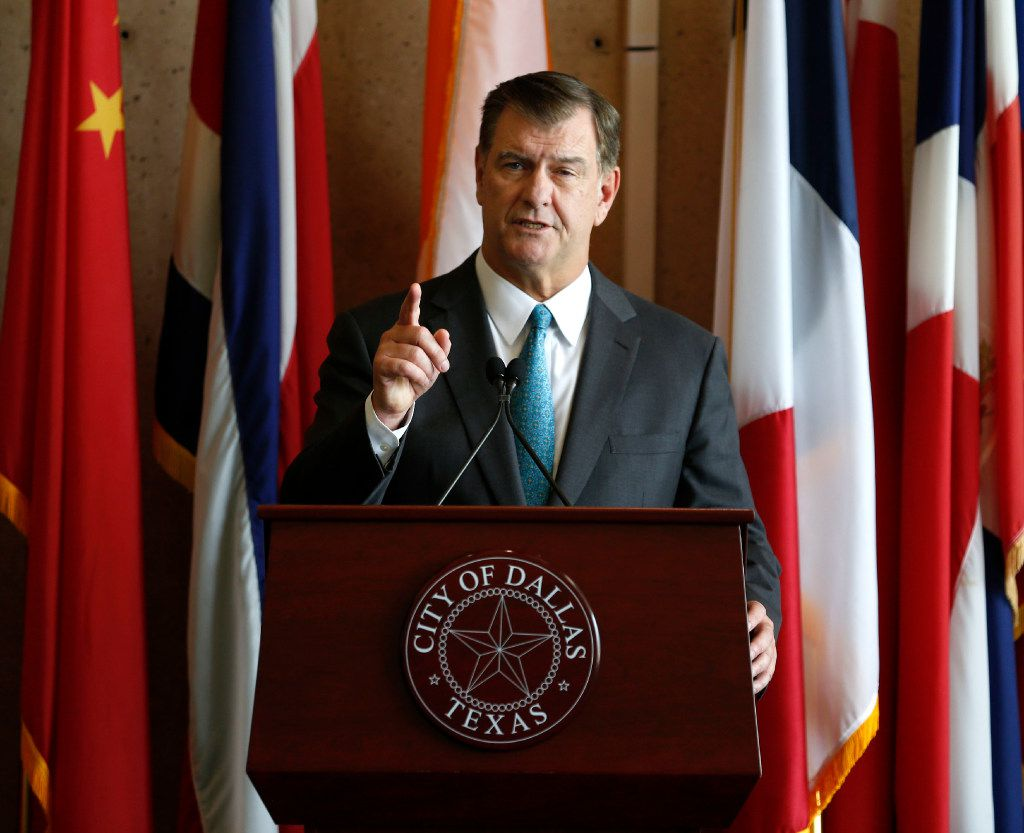 Dallas Mayor Mike Rawlings speaks during a press conference at city hall in Dallas on Tuesday, Aug. 15, 2017.