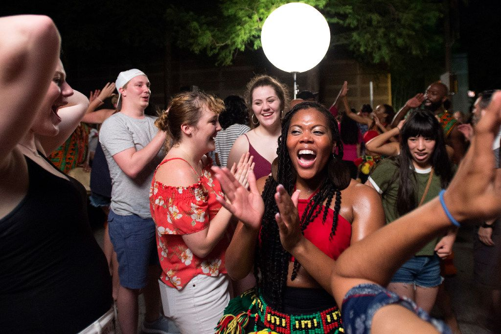 Bandan Koro member Shannon Louis danced with revelers during the Arts District Block Party on June 16, 2017 outside the Dallas Museum of Art.
