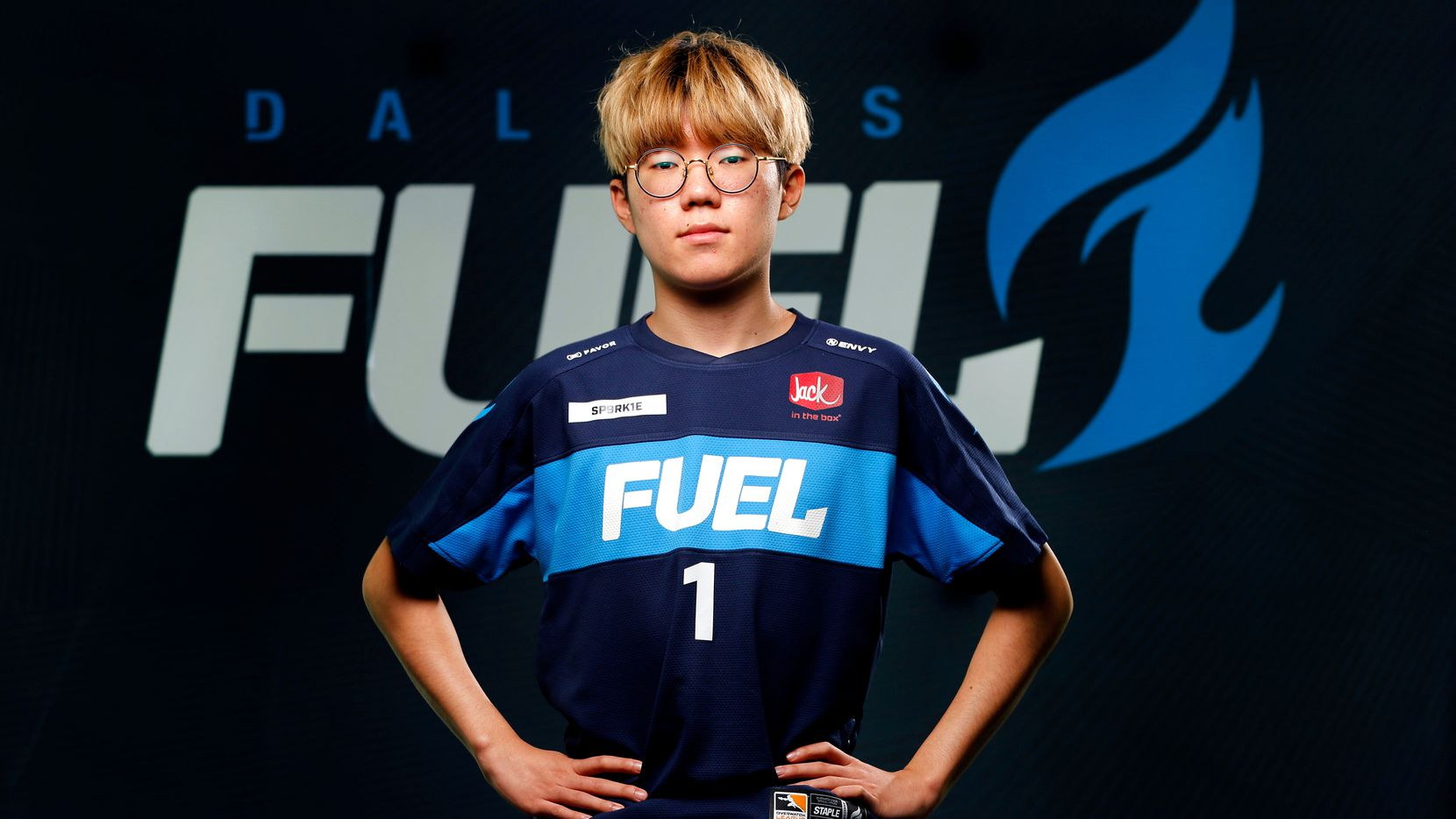 Dallas Fuel Overwatch League player Yeonghan 'SP9RK1E' Kim poses for a photo at Envy Gaming Headquarters in Dallas, Monday, March 29, 2021. (Tom Fox/The Dallas Morning News)