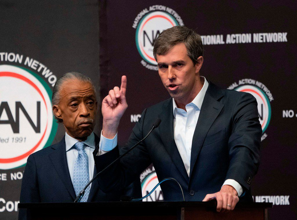 Presidential candidate Beto O'Rourke spoke next to the Rev. Al Sharpton during a gathering of the National Action Network on April 3, 2019, in New York.