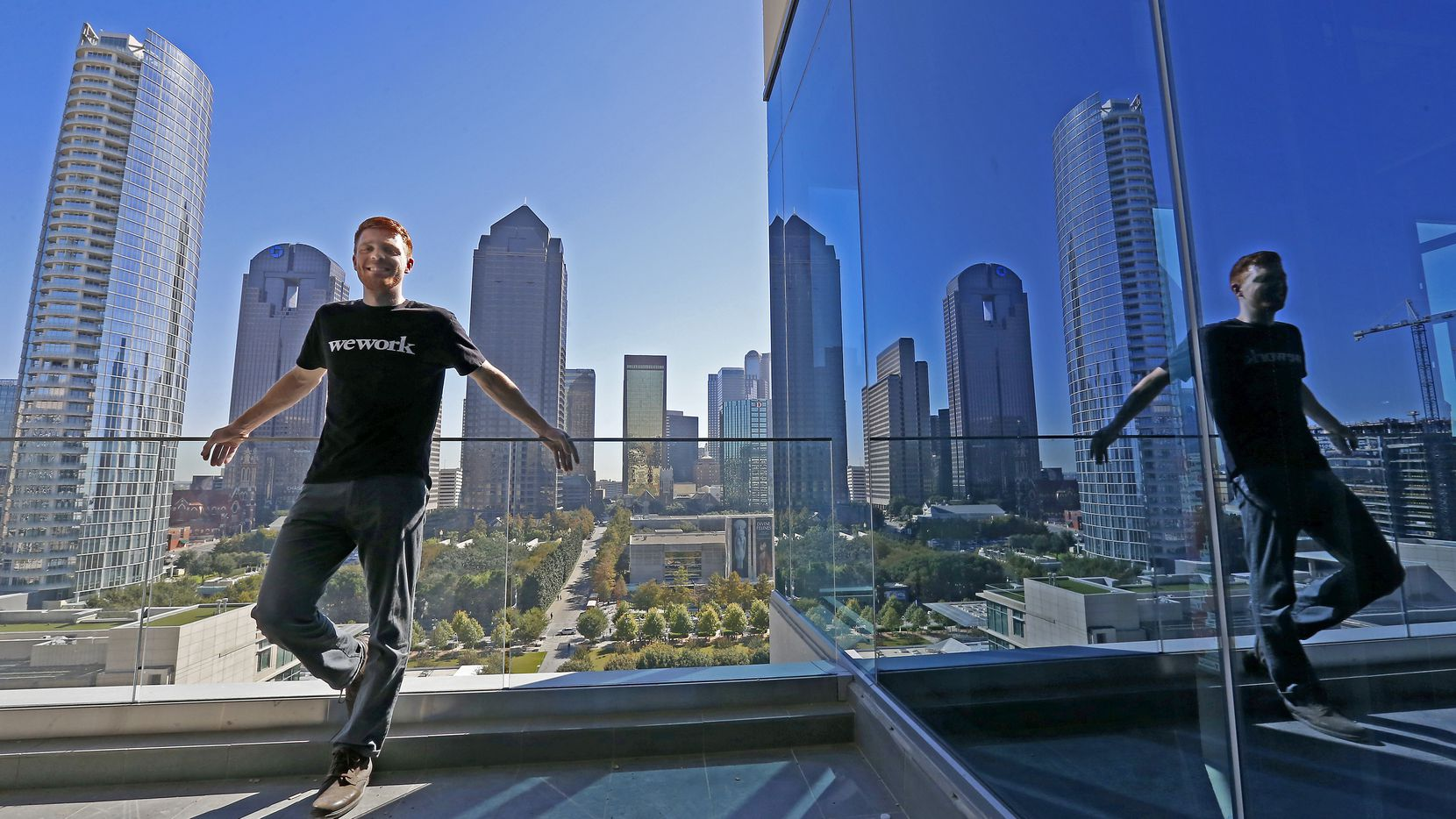 Adam Wacenske, general manger of the WeWork's south region, poses for a photograph in a balcony of the WeWork's future office space sharing location on McKinney Avenue during a media tour in Dallas, Wednesday, Nov. 16, 2016. (Jae S. Lee/The Dallas Morning News)