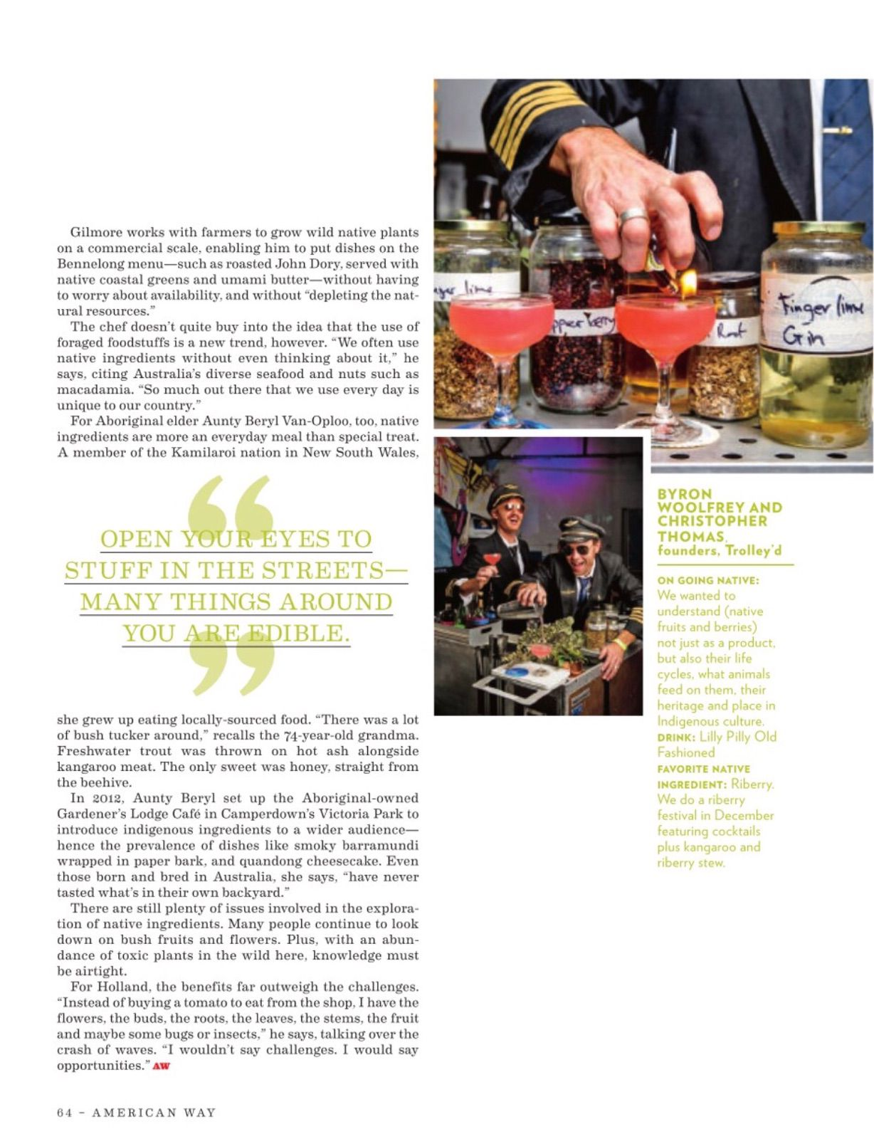 Two photos in the March issue of American Way drew complaints for depicting bartenders in pilots' uniforms. The photos were removed.