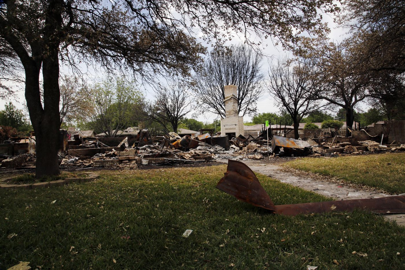 A house on on Reagan St. in West, Texas, stands in ruins on April 27, 2013, due to the West Fertilizer Co. explosion on April 17, 2013. Residents of the worst-damaged areas finally got to return to see their homes 10 days later.  (Kye R. Lee/The Dallas Morning News) 04282013xNEWS