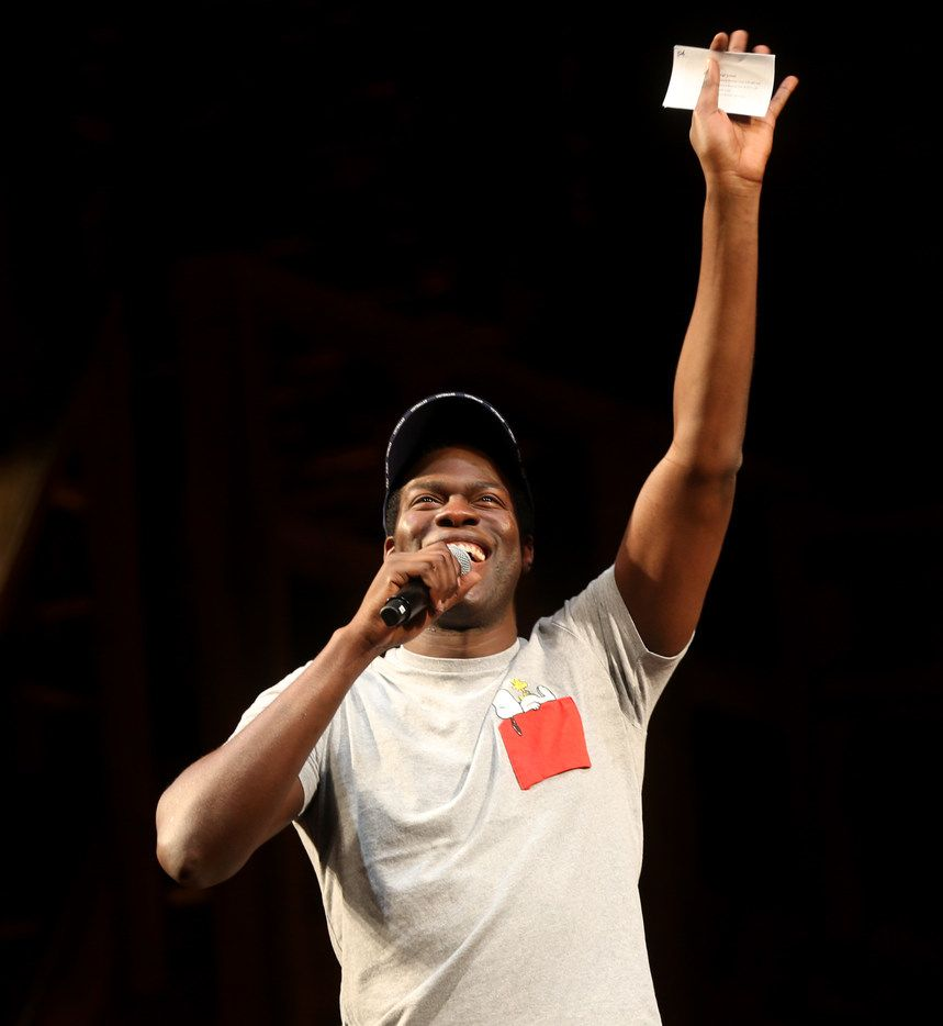 Hamilton cast member Kyle Scatliffe speaks to the audience during a Hamilton Education Program event at the Music Hall at Fair Park in Dallas on May 2, 2019.