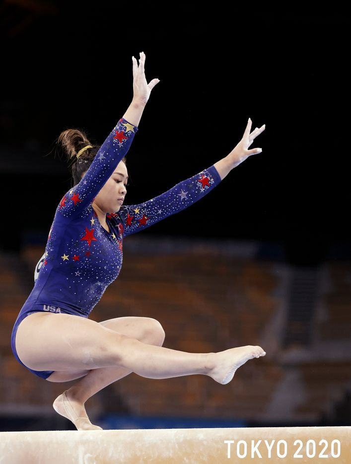 USA's Sunisa Lee competes on the balance beam in a women's gymnastics event during the postponed 2020 Tokyo Olympics at Ariake Gymnastics Centre on Sunday, July 25, 2021, in Tokyo, Japan. (Vernon Bryant/The Dallas Morning News)