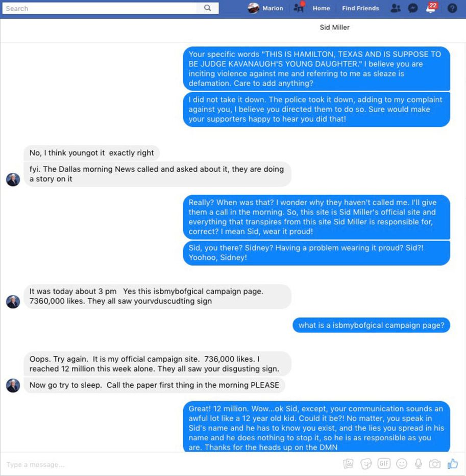 Screenshots of a Facebook conversation between Marion Stanford and agriculture commissioner Sid Miller regarding a controversial political sign. (2/3)