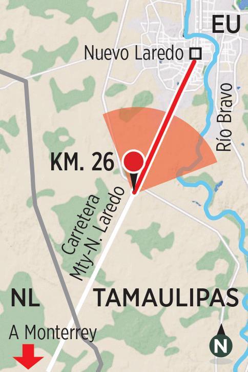 Ilustración del kilómetro 26 de la carretera de Monterrey a Nuevo Laredo, donde se han producido las desapariciones de personas en 2021.