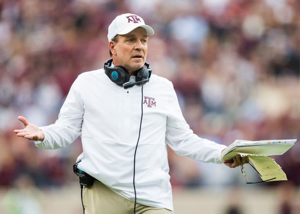 Texas A&M Aggies head coach Jimbo Fisher disputes a call during the first quarter of a college football game between Texas A&M and Alabama on Saturday, October 12, 2019 at Kyle Field in College Station, Texas. (Ashley Landis/The Dallas Morning News)