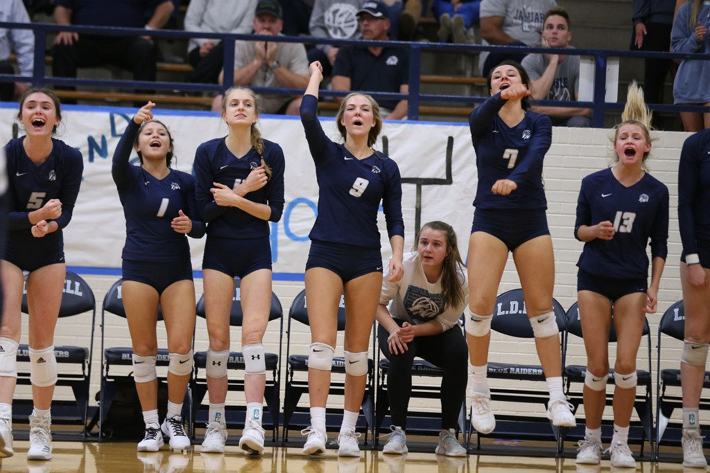 Flower Mound volleyball players cheer during the final moments of a high school volleyball game against Keller High School and Flower Mound High School on Monday, Nov. 4, 2019 at L.D. Bell High School in Hurst, Texas. (Duy Vu/Special Contributor)