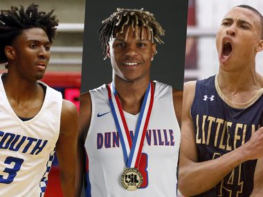 From left to right: Tyrese Maxey (South Garland), Jahmi'us Ramsey (Duncanville) and RJ Hampton (Little Elm).