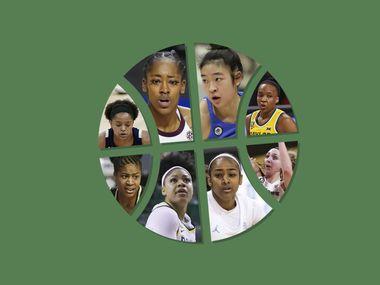 Clockwise starting in the top left: Jordan Hamilton, Zaay Green, Natalie Chou, Jordyn Oliver, Taylor Jones, Deja Kelly, Trinity Oliver and Jewel Spear.