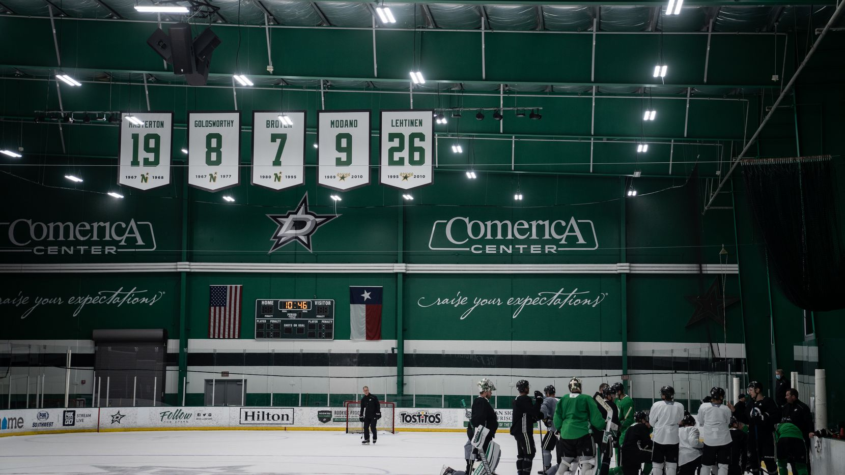 FILE - The Dallas Stars are pictured here during postseason training camp at Comerica Center in Frisco on Monday July 13, 2020.