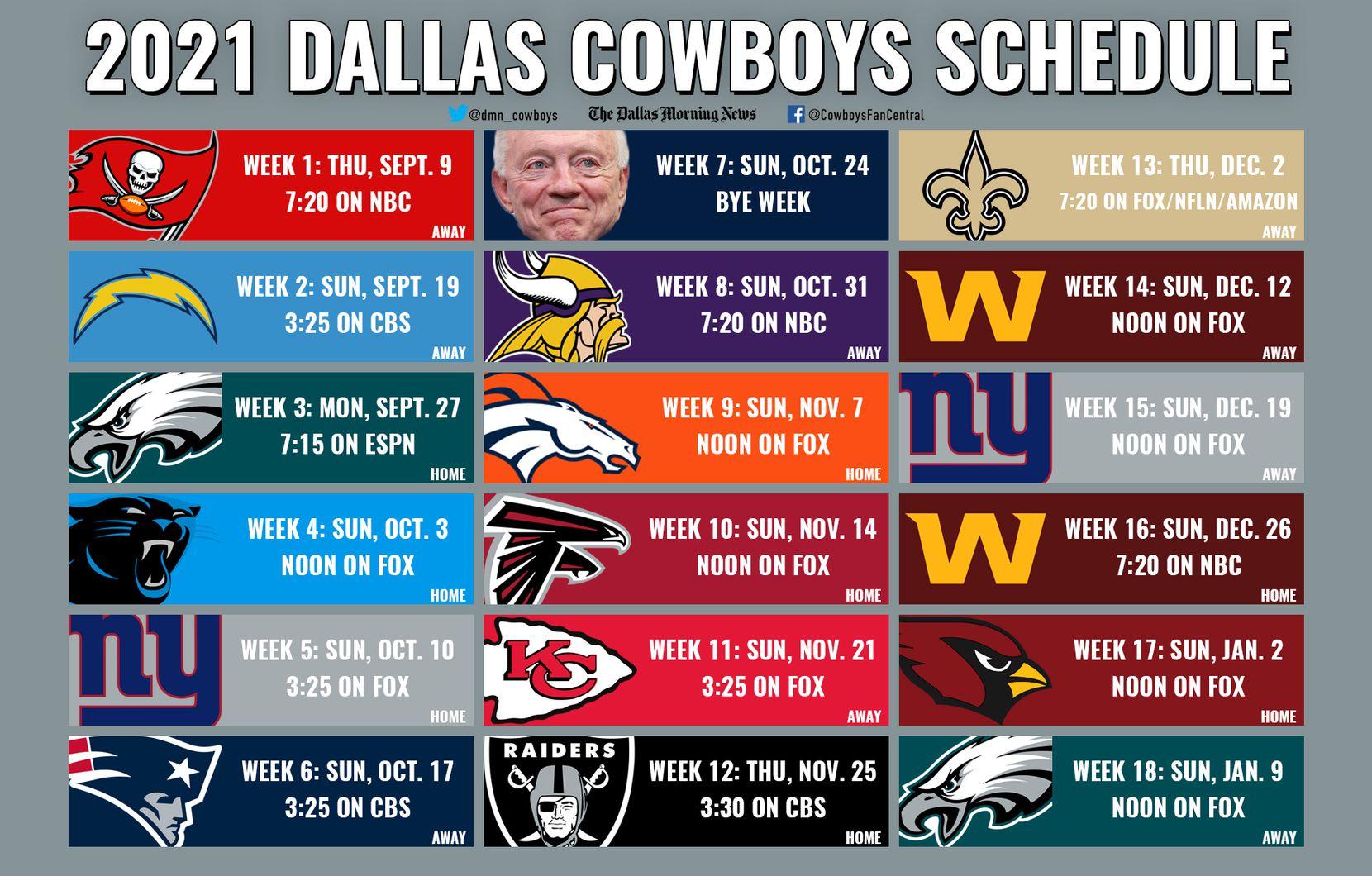 The 2021 Dallas Cowboys schedule.