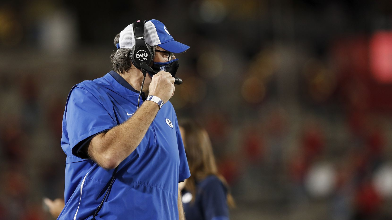 Offensive coordinator Jeff Grimes of the BYU Cougars reacts in the first half against the Houston Cougars at TDECU Stadium on October 16, 2020 in Houston, Texas.
