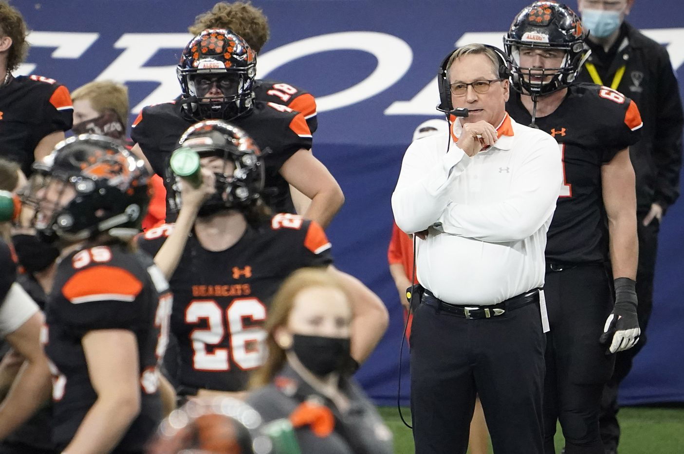 Aledo head coach Tim Buchanan works on the sidelines during the first half of the Class 5A Division II state football championship game against Crosby at AT&T Stadium on Friday, Jan. 15, 2021, in Arlington. (Smiley N. Pool/The Dallas Morning News)