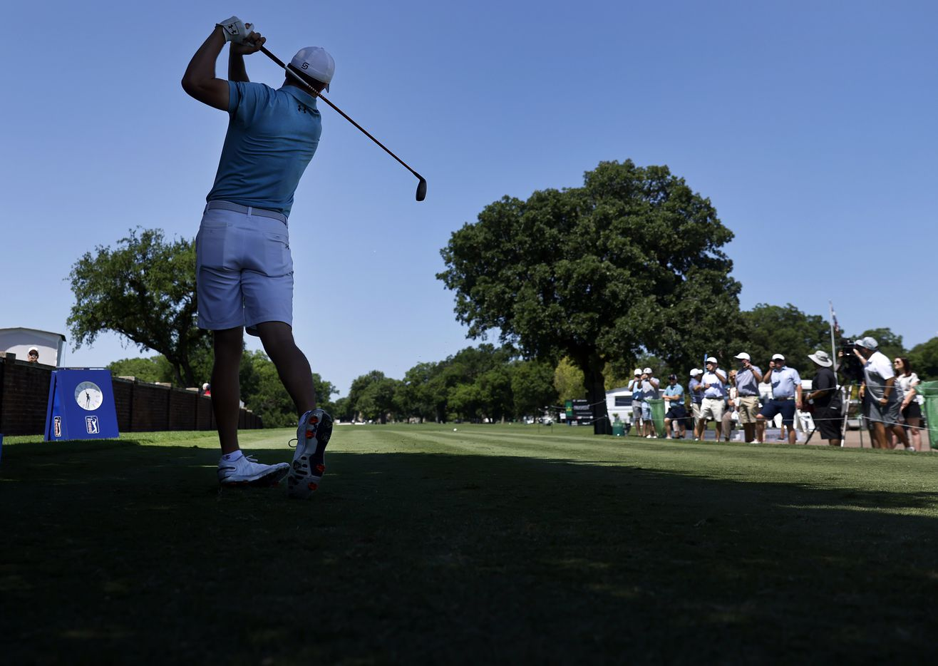 Golfer Jordan Spieth starts his half round by teeing off on No. 10 during his Charles Schwab Challenge Colonial Pro-Am round at the Colonial Country Club in Fort Worth, Wednesday, May 26, 2021. (Tom Fox/The Dallas Morning News)