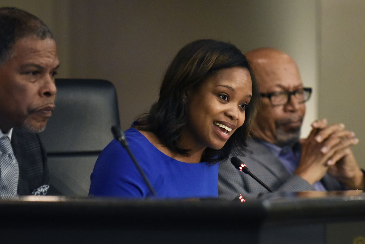 Council member Candice Quarles speaks in favor of creating a paid parental leave program for city employees in DeSoto —  a plan that she spearheaded — during a City Council meeting Tuesday at the Jim Baugh Government Center.