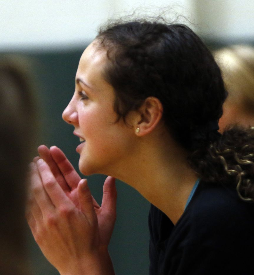Kennedale outside hitter Maddie Pyles encourages fellow teammates of the Kennedale varsity volleyball team. Under the direction of head coach Kelly Carl, the team conducted their first practice of the season at Kennedale High School in Kennedale on August 03, 2020.(Steve Hamm/ Special Contributor)
