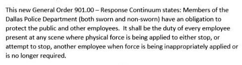 "The content of Dallas Police Chief U. Renee Hall's ""duty to intervene"" order."