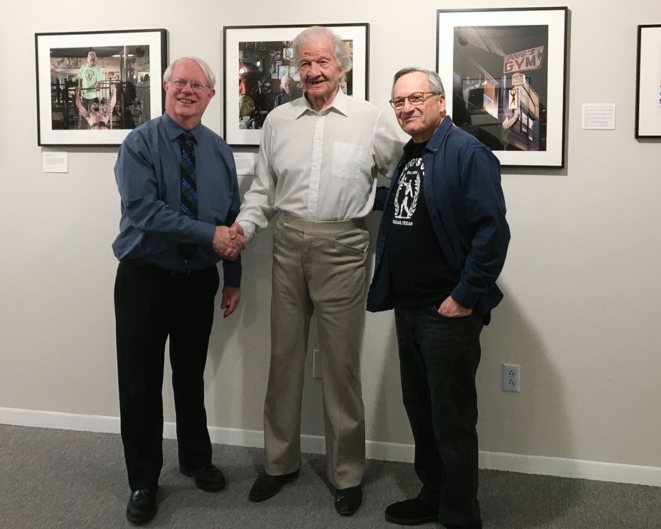 Ben Breard (from left), Doug Eidd of Doug's Gym and Norm Diamond attended the opening reception of Diamond's show featuring photographs of Doug's Gym on Feb. 28.