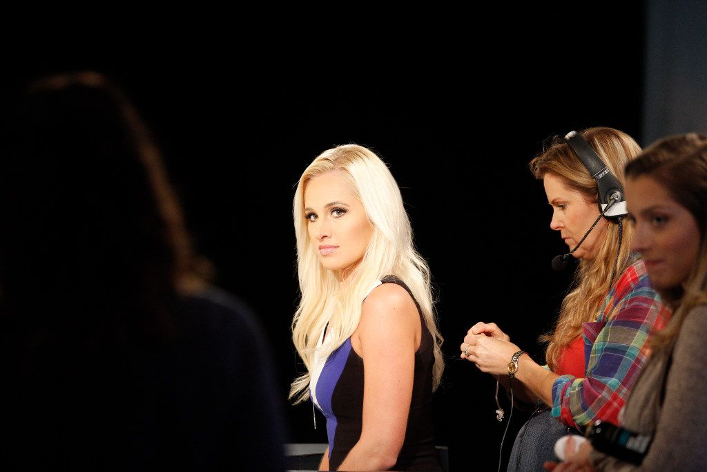 Tomi Lahren appears on camera during a taping of her show in Irving.