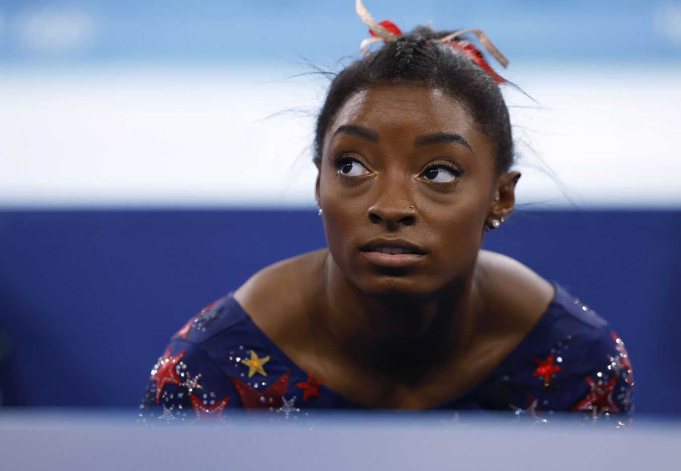 USA's Simone Biles after competing on the balance beam in a women's gymnastics event during the postponed 2020 Tokyo Olympics at Ariake Gymnastics Centre on Sunday, July 25, 2021, in Tokyo, Japan. (Vernon Bryant/The Dallas Morning News)