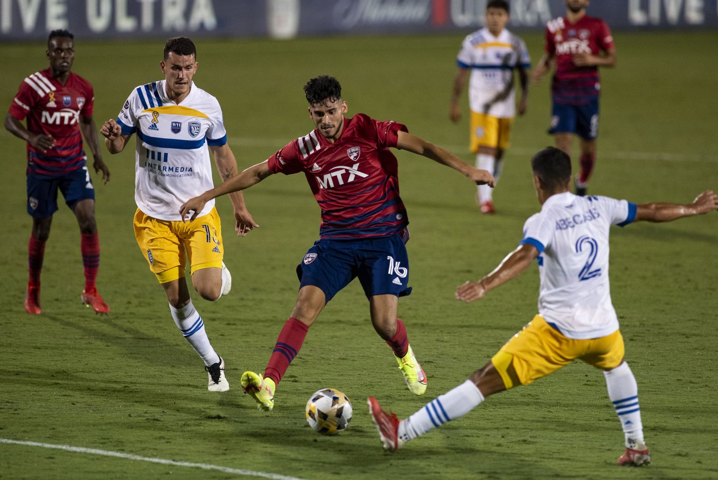 FC Dallas forward Ricardo Pepi (16) looks to get past San Jose Earthquake defenders to score during FC DallasÕ home game against the San Jose Earthquakes at Toyota Stadium in Frisco, Texas on Saturday, September 11, 2021. (Emil Lippe/Special Contributor)