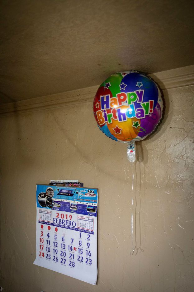 A birthday balloon and calendar at the home of Lili on Wednesday, Feb. 6, 2019, in Dallas.