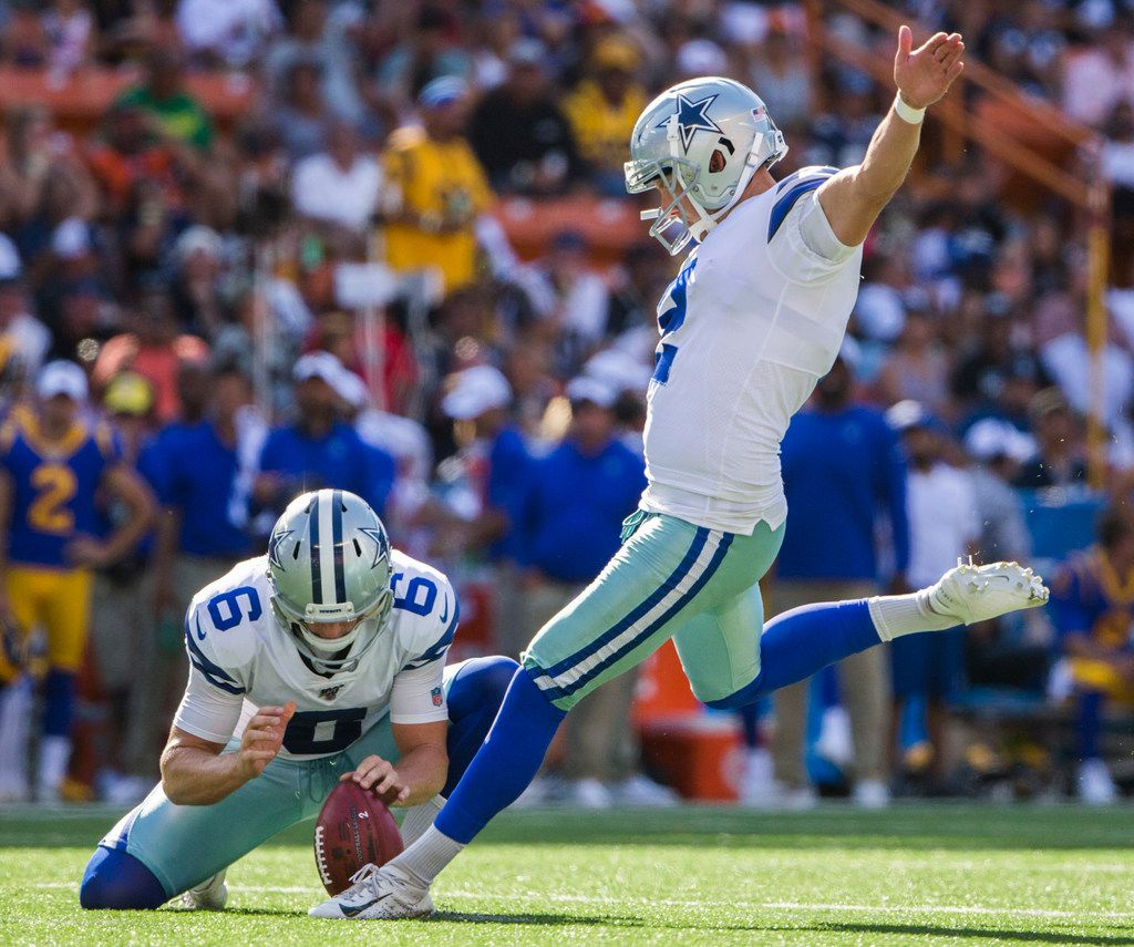 Dallas Cowboys kicker Brett Maher (2) kicks an extra point after a touchdown during the first quarter of an NFL preseason game between the Dallas Cowboys and the Los Angeles Rams on Friday, August 17, 2019 at Aloha Stadium in Honolulu, Hawaii. (Ashley Landis/The Dallas Morning News)