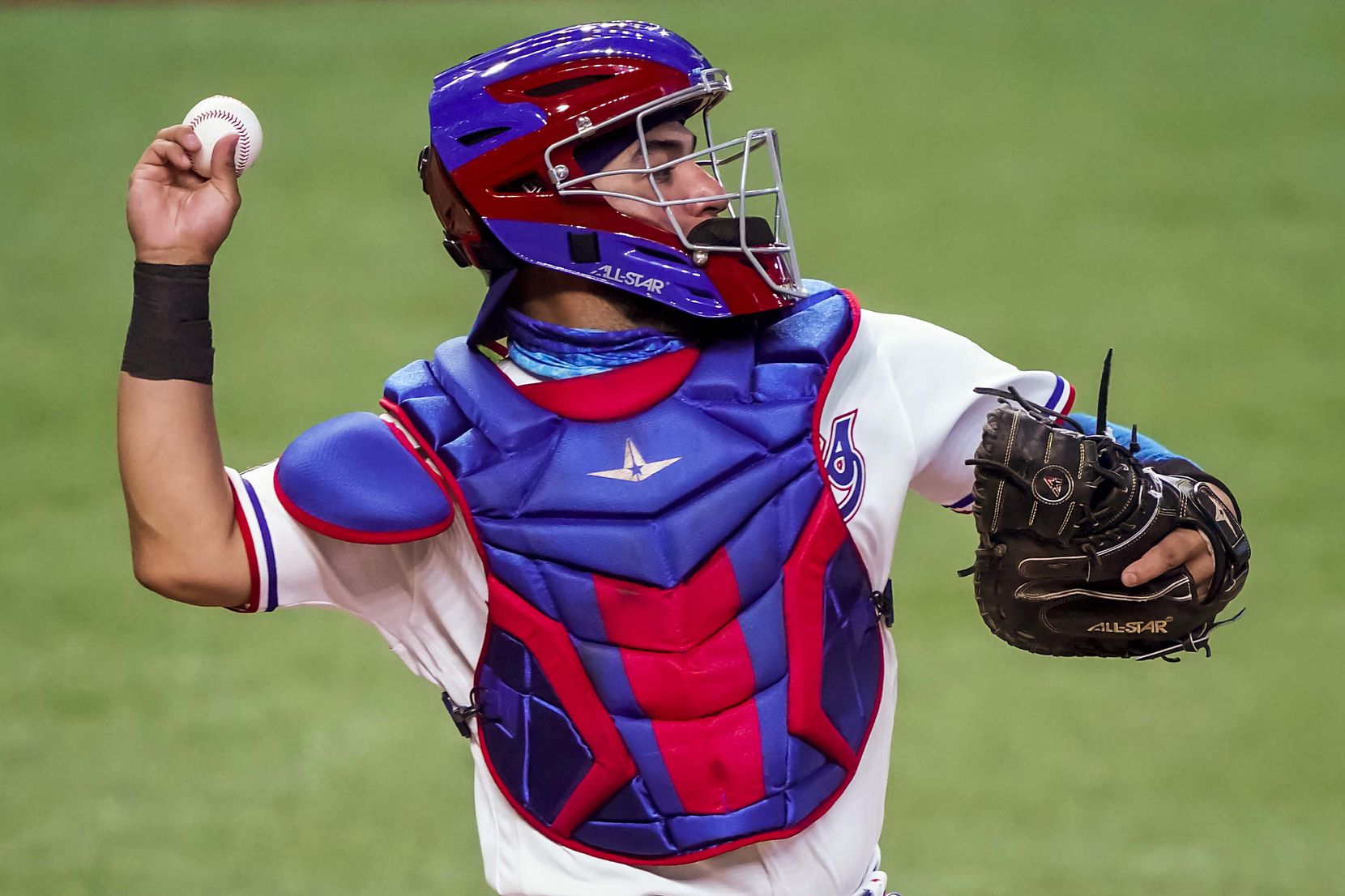 Catcher Jose Trevino makes throw to second base during Texas Rangers Summer Camp at Globe Life Field on Thursday, July 16, 2020. (Smiley N. Pool/The Dallas Morning News)