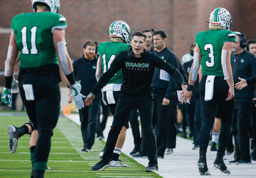 Southlake Carroll head coach Riley Dodge celebrates a touchdown during the second half of a Class 6A Division I Region I high school football matchup between Southlake Carroll and Duncanville on Saturday, Dec. 7, 2019 at McKinney ISD Stadium in McKinney, Texas. (Ryan Michalesko/The Dallas Morning News)
