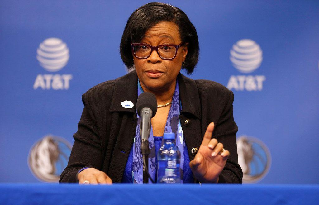 Interim CEO of the Dallas Mavericks Cynthia Marshall speaks during a newa conference, Monday, Feb. 26, 2018, in Dallas. (AP Photo/Ron Jenkins)