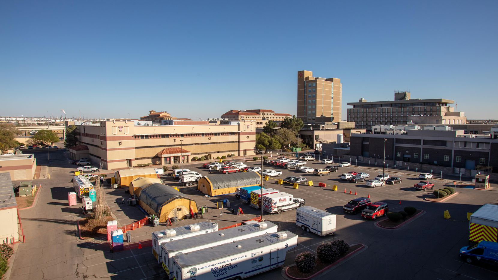 University Medical Center in El Paso has put up extra tents in the parking lot for coronavirus patients.