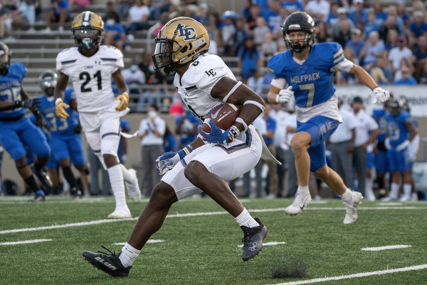 Little Elm senior kick returner Terrance Brooks (8) heads upfield on a kickoff return during the first half of a high school football game against Plano West on Friday, Sept. 10, 2021 at John Clark Stadium in Plano, Texas. (Jeffrey McWhorter/Special Contributor)